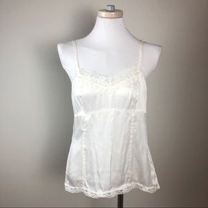 100% Silk WHBM Lace and Pintuck White Camisole